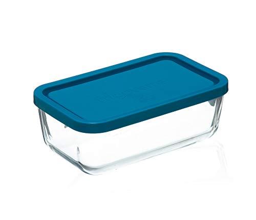 Bormioli Rocco 1663031 Bormioli-Plat Rctangle en Verre avec Couvercle 1.1 L, Bleu, Transparent, 21x13
