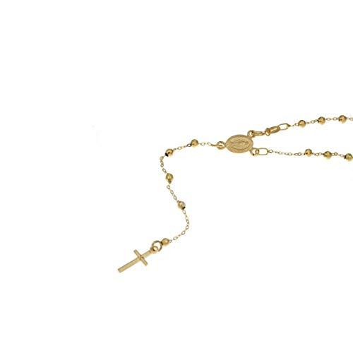 Rosario de oro de 18 quilates 750/1000 con cadena y esferas alternadas con Madonna colgante unisex, oro amarillo, 50.00, brillante