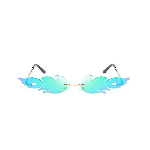TOYANDONA 1 Piezas Gafas de Sol de Llama de Fuego de Moda Gafas de Sol de Onda sin Montura Gafas Gafas de Sol Estrechas para Gafas de Fiesta Unisex-Adultas (Verde)