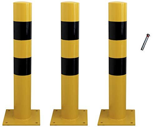 Bolardo fijo Protec amarillo negro 120x810 mm con placa inferior (3- Bolardos + Tornillería)