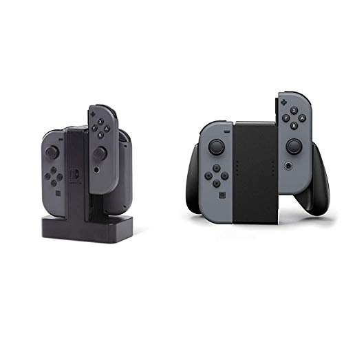 PowerA - Estación de Carga Joy-con (Nintendo Switch) + Nintendo Switch Joy-con Comfort Grip, Negro
