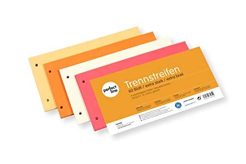 perfect line 60 Stück Papier-Trennstreifen EXTRA-STARK 250 g, Register-Trenner bunt in 4 Farben, Trenn-Blätter farbig sortiert, bunte Karten-Laschen für perfektes Trennen der DIN-A4 Ordner & Akten