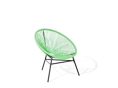 Beliani Lustiger Gartenstuhl Spaghetti Stil Rattan grün Acapulco