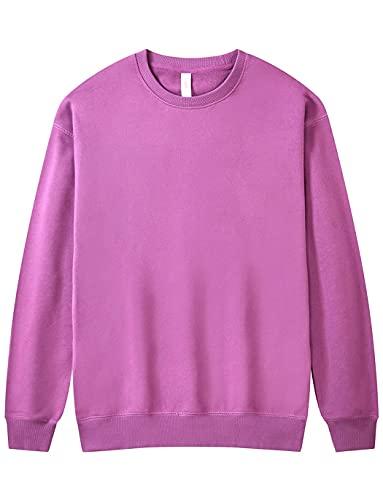 Women's Casual Cotton Long Sleeve Pullover Crewneck Sweatshirt Solid Shirt Tops