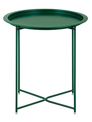 Beistelltisch 2. Wahl Gartentisch Balkon Tisch Terassentisch rund Alberta Metall wetterfest zusammen Farbe dunkelgrün - Olive