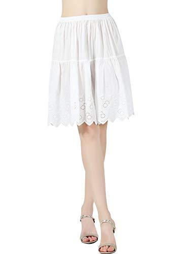 BEAUTELICATE Damen Unterrock 100% Baumwolle Reifrock Falten Vintage Halbrock mit Spitze Stickerei Knielang Dirndl Petticoat Elfenbein 55CM Größe S M L