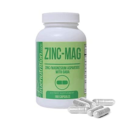 True Nutrition - Zinc-Mag - ZMA Supplement with Magnesium, Zinc, GABA, Vitamin B6 - Promotes Healthy Sleep Patterns and Supports Muscle Recovery - 590.5mg per Serving - 180 Capsules