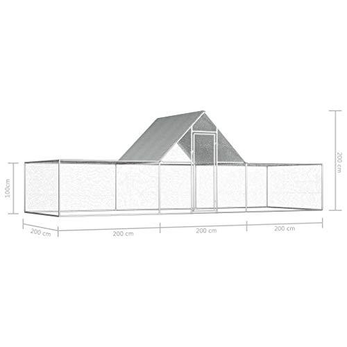 UnfadeMemory Hühnerstall Hühnerkäfig mit Wasserfestem Dach Verzinkter Stahl Freilaufgehege Hasenstall Hühnerhaus geeignet für Huhn, Henne, Ente, Gans usw. (#B- 6 x 2 x 2 m) - 6