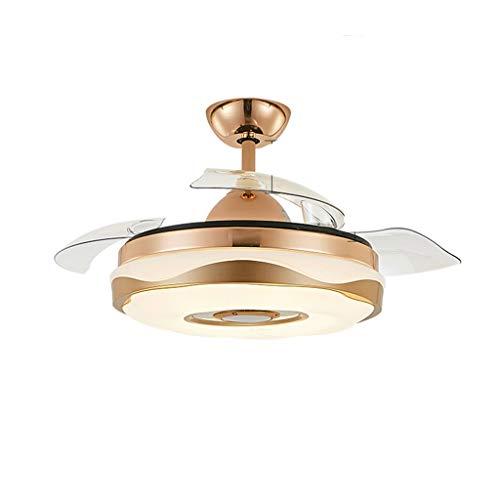 HSJ WDX- Luz de Ventilador Ventilador de Techo Invisible con luz lámpara de salón de Cristal Simple luz de Ventilador de Techo Durable