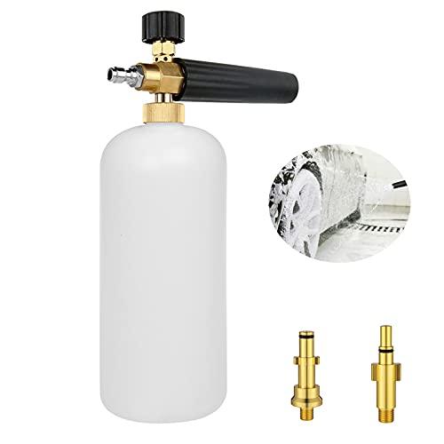 Bibykivn Cañón de Espuma de Nieve, Espuma de jabón para Lavado de Coche con Boquilla de Espuma Ajustable, Pulverizador de Espuma con Conector rápido de 1 4 para Pistola de Lavado a presión