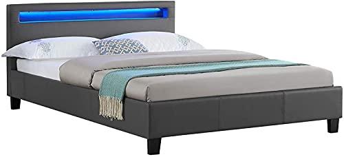 Sensoreve-Lit Double pour Adulte Couchage 160 x 200 cm avec sommier 2 Places pour 2 Personnes, tête de lit avec LED intégrées, revêtement synthétique (Gris)