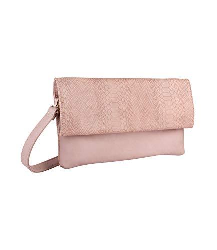 SIX Damen Handtasche, Reptil Look mit langem Riemen zum umhängen, Umhängetasche, goldene Details, Schlangenoptik in verschiedenen rosa Tönen (726-653)
