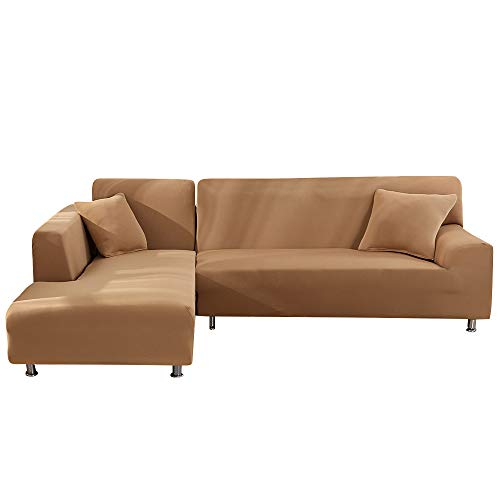 Fundas Sofa Elasticas Chaise Longue,Extraíbles y Lavables,Moderno Cubre Sofa Chaise Longue Universal Fundas Protectora para Sofa contra Polvo en Forma de L 2 Piezas(Camello,2 Plazas+2 Plazas)