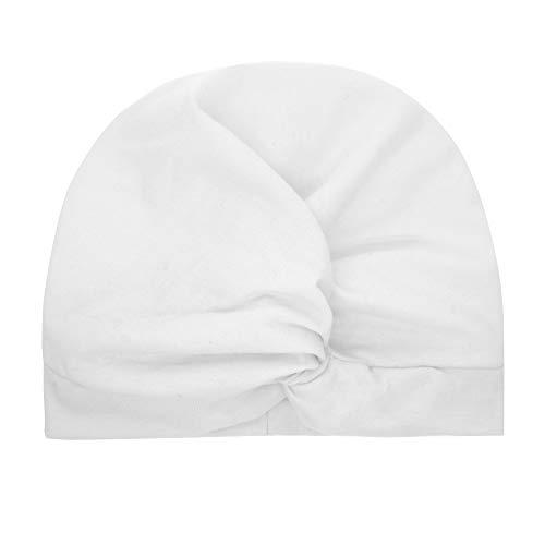 Huhu833 Neugeborenes Kind Baby Jungen Mädchen indischen Hut Einfarbig Knoten Turban Beanie Mütze Headwear Cap (Weiß)