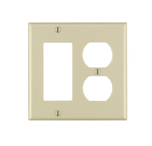 Leviton 80455-I 2-Duplex 1-Decora/Gfci Standard Size Wall Plate, 2 Gang, 4.5 In L X 4.56 In W 0.22 In T, 1-Pack, Ivory