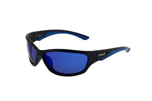 Mawaii Sunglasses Tempt - polarisierte SportSonnenbrille für Damen und Herren, Sport Performance Sonnenbrille, Rahmen Black Matte/Blue, Gläser Blue Mirror