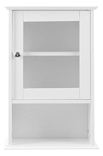 Premier Housewares Portland Hängeschrank, Glastür und Regalbrett, 51 x 35 x 18 cm, weiß, MDF, 18x35x51
