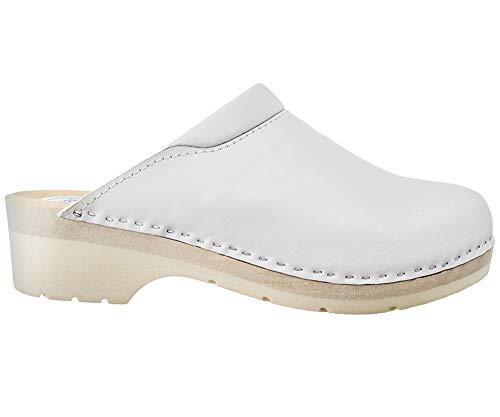 ESTRO Zuecos De Madera para Mujer Calzado Sanitario De Trabajo CDL02 (37, Blanco 1)