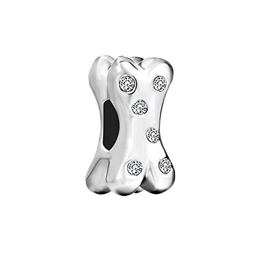 Pandora 925 Joyería De Moda De Plata Para Mujer Granos De Agujero Grande Chicas De Lujo Cristales Blancos De Metal Hueso De Perro Pulsera Europea Del Encanto Regalo Exquisito