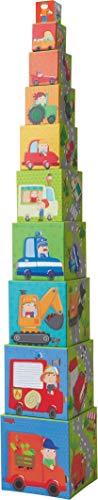 HABA 301524 - Stapelwürfel Flotte Flitzer | Turm zum Stapeln aus 10 Würfeln | Bausteine aus Pappe mit bunten Fahrzeug-Motiven | Spielzeug ab 12 Monaten