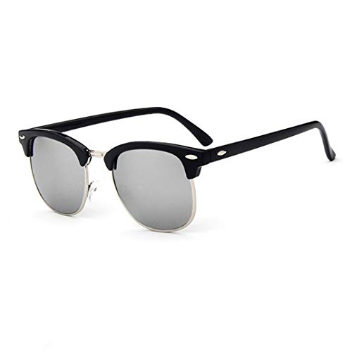 Gafas de Sol Medio Metal Moda Gafas DE Sol para Hombres/Mujeres Remache Retro Lente Gafas de Sol clásicas Mujer UV400