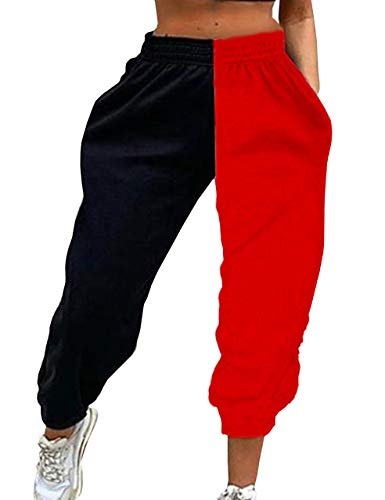 Meladyan Women's Elastic High Waist Joggers Baggy Pants Color Block Sweatpants with Pockets (X-Large, Black&Red)