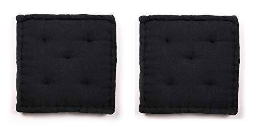 Homevibes - Cuscino per sedia, quadrato, set di 2 cuscini per pavimento o pallet, dimensioni: 40 x 40 x 7 cm, per interni ed esterni, realizzato in 100% cotone, ideale per decorazione (Nero)