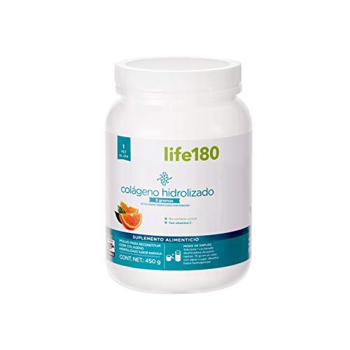 LIFE180 Colágeno Hidrolizado en polvo, sabor naranja, 450 gr, 5 gr de Colágeno por porción, 30 porciones
