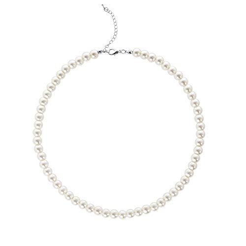 BABEYOND Damen Perlen Ketten Kurze Runde Imitation Perle Halskette Hochzeit Perlenkette für Bräute Weiß (Durchmesser der Perle 8mm)