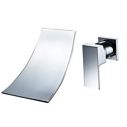 Encantadores Accesorios de plomería de una manija Montaje en Pared generalizada Cascada de bañera Grifo de Lavabo de tocador de baño Grifería de Lavabo de Lavabo de Cromo Pulido de latón