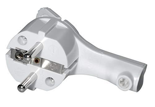 SAT-FOX Schutzkontakt-Winkelstecker, extraflach aus Kunststoff (8mm Höhe), mit Klappgriff und Knickschutz, 250V (16A), für Kabel bis 3x1,5 mm², IP20, weiss