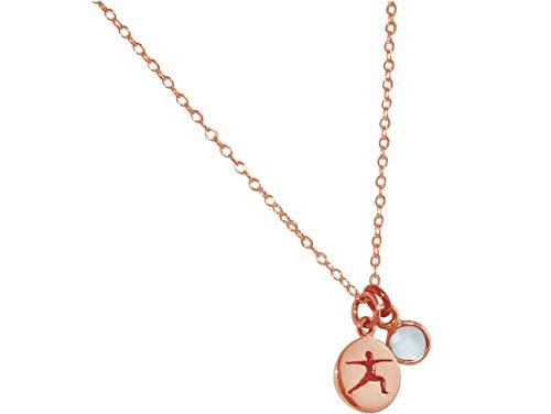 Gemshine YOGA Halskette aus 925 Silber, vergoldet oder rose. 1,5 cm Yoga Warrior Krieger Anhänger mit Chalcedon. Nachhaltiger, qualitätsvoller Schmuck Made in Spain, Metall Farbe:Silber rose vergoldet