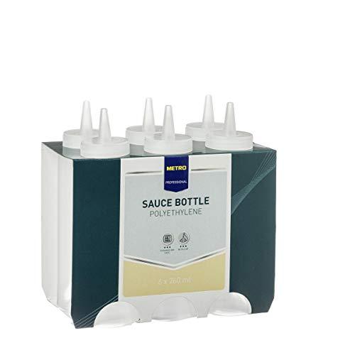 METRO Professional 6x Dosierflaschen mit Spritztülle (260 ml)   transparent   Spenderflasche   Quetschflasche   Squeezebottle   Saucenflasche für gewerblichen Einsatz geeignet