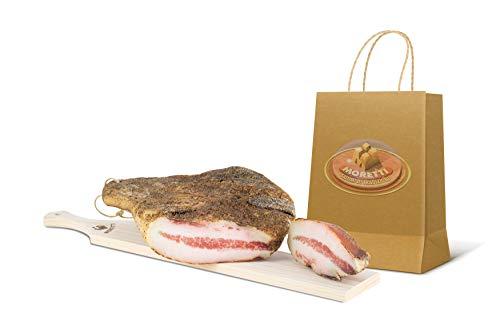 Moretti | Guanciale Di Suino Stagionato Boccolaio Gourmet | Trancio in sottovoto circa 800g/900g | Salume Tipico Tradizionale | In Regalo Tagliere Legno | Specialita' Gastronomica Calabrese