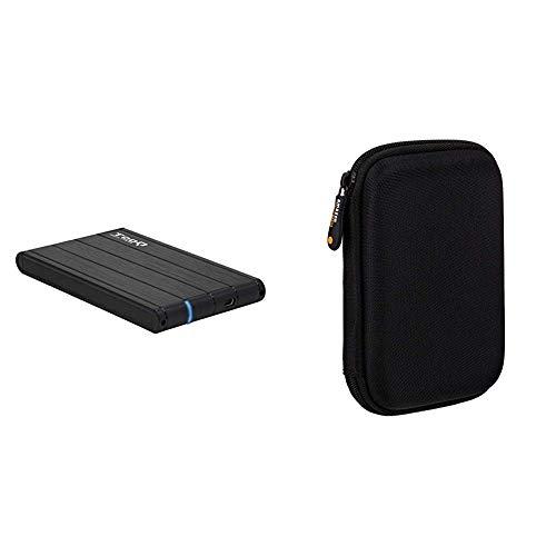 TooQ TQE-2530B - Carcasa para discos duros HDD de 2.5', (SATA I/II/III de hasta 9.5 mm de alto, USB 3.0), aluminio, indicador LED, color negro, 50 grs. + Amazon Basics Funda de disco duro, color negro