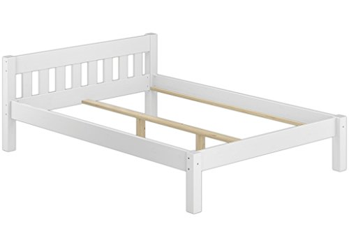 Erst-Holz® Doppelbett 140x200 Kiefer-Bettgestell Massivholz weiß Bettgestell ohne Rollrost 60.38-14 W oR
