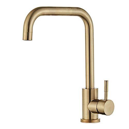 Grifo monomando para lavabo, una manija se puede girar 360 °.Compatible con grifo de fregadero de cocina de doble fregadero de acero inoxidable dorado, grifos de agua fría y caliente, fácil de insta