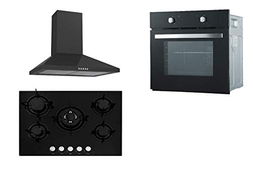Cookology Fan Oven, Gas on Glass 5 Burner Hob with Enamel Pan Supports and Chimney Cooker Hood in Black Pack