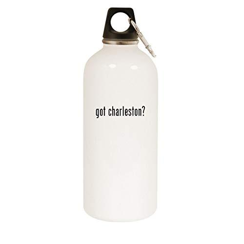 got charleston? - 20oz Stainless Steel White Water Bottle with Carabiner, White