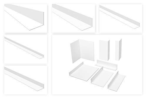 HEXIM Winkelprofile ungleichschenklig weiß - PVC Kunststoffwinkel, Auswahl Maße & Stärke - (HJ 303, 25x45 mm) Kunststoff Winkelleisten Fensterprofile