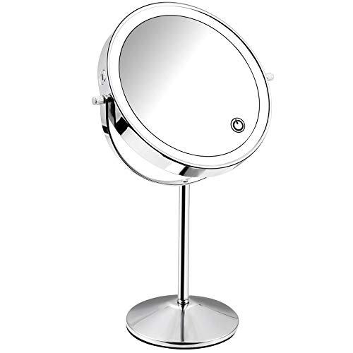 Micacorn Schminkspiegel USB Wiederaufladbarer 7X Vergrößerter Vanity LED Makeup Spiegel 360 Grad Drehtischspiegel mit Einstellbarer Touchscreen Helligkeit