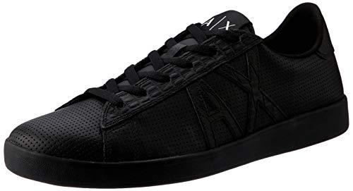 Armani Exchange Herren Lace Up Sneaker, Schwarz (Black + Black K001), 43 EU