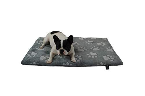 HS-Hundebett gepolsterte Hundedecke in 6 Größen I Qualität Made in Germany - waschbar bei 40° - trocknergeeignet I weiche Kuscheldecke für große & kleine Hunde (30 x 45 cm, Pfote Anthrazit)