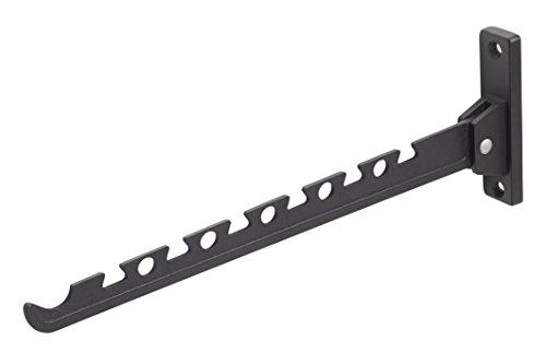 Metafranc Kleiderlüfter schwarz - 330 x 28 mm - 20 kg Tragkraft - Stabiles Material - Platzsparende Klappfunktion / Kleiderstange / Wandhaken / Klapphaken / Aufhängevorrichtung / 250317