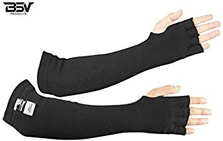 Kevlar Protective Sleeves- Heat, Scratch & Cut Resistant Arm Sleeve with Finger Opening & Thumb Holes- Arms Safety Sleeves- Long Arm Guard Protector for Work- Bite Proof- 18 Inches, Black, 1 Pair