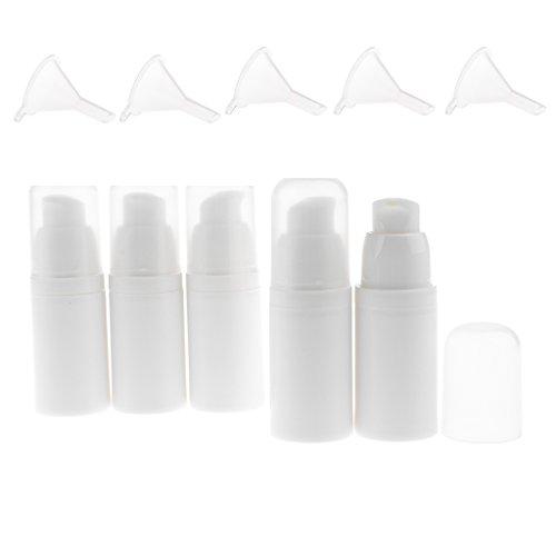MagiDeal 5pcs 15ml Bouteilles Pompe Liquide Vide Flacon Vaporisateur en Plastique à Lotion Cosmétique/Crème/Sérum + 5pcs Entonnoirs - Idéal pour Voyage