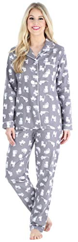 PajamaMania Women's Cotton Flannel Long Sleeve Button-Down Pajamas PJ Set, Grey Cats, LRG