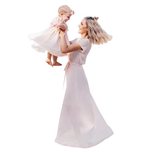 Allence Schönes Mutter Tochter Kleider Matching Outfits Familien Kleidung Einfarbige Krawatte mit Rüschen Prinzessin Kleid