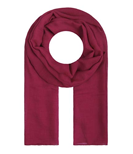 Majea Majea Tuch Lima schmal geschnittenes Damen-Halstuch leicht uni einfarbig dünn unifarben Schal weich Sommerschal Übergangsschal, Cherry, 180cm x 50cm
