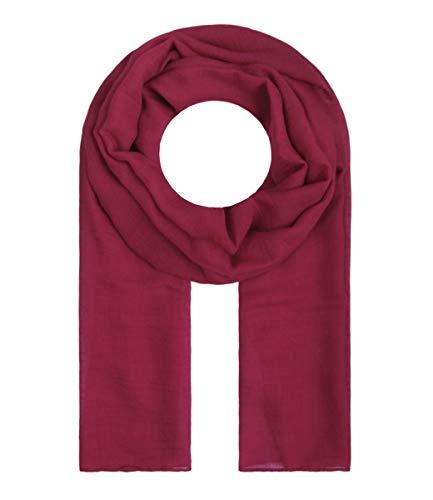 Majea Tuch Lima schmal geschnittenes Damen-Halstuch leicht uni einfarbig dünn unifarben Schal weich Sommerschal Übergangsschal, Cherry, 180cm x 50cm